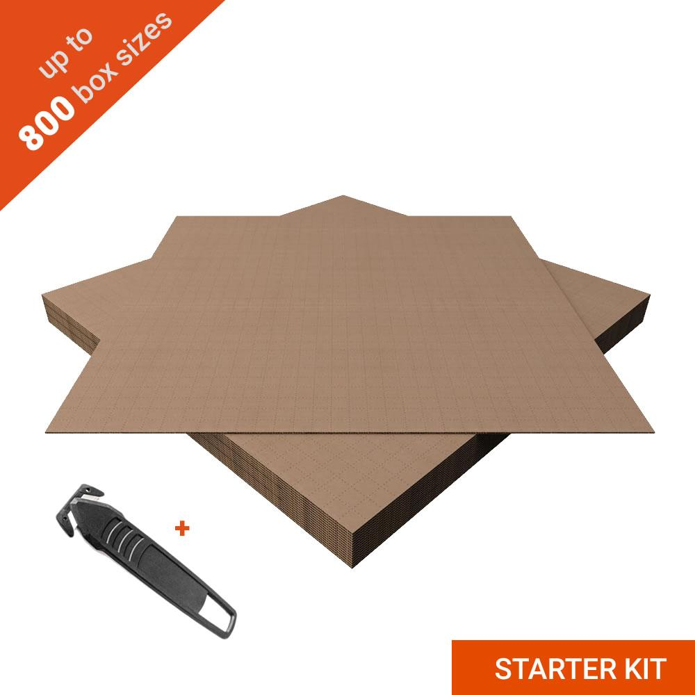 Cardboard Sheets for Making International Shipping Box (10 pcs) With Self-Adhesive Tape and Safety Knight Blade - STARTER KIT