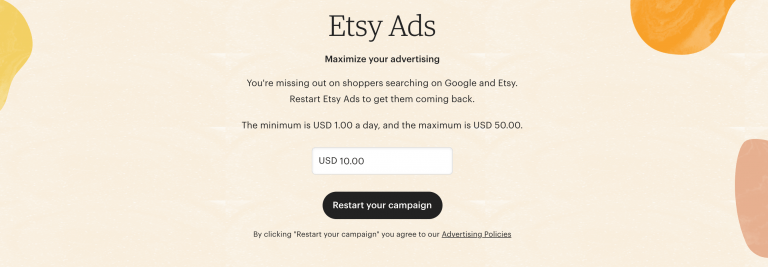 How much does Etsy advertising cost